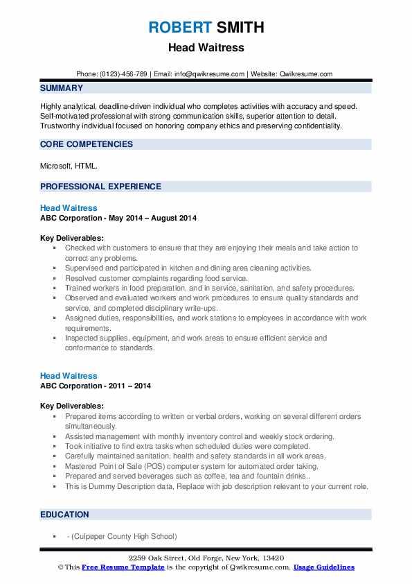 Head Waitress Resume example