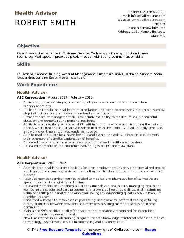 Health Advisor Resume Model