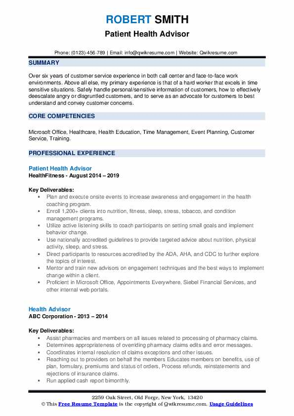 Patient Health Advisor Resume Example