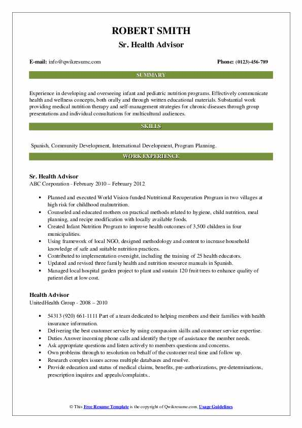 Sr. Health Advisor Resume Example