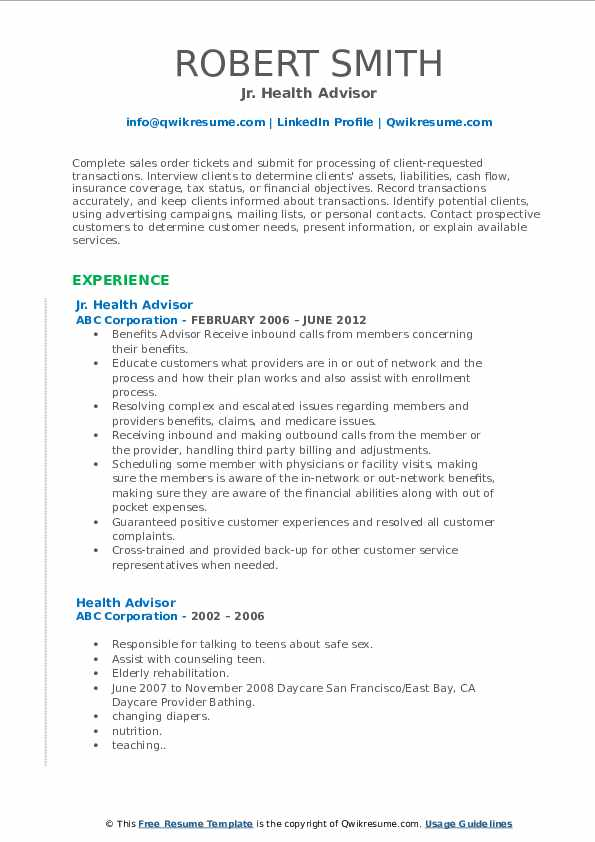 Jr. Health Advisor Resume Sample