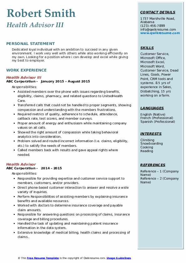 Health Advisor III Resume Model