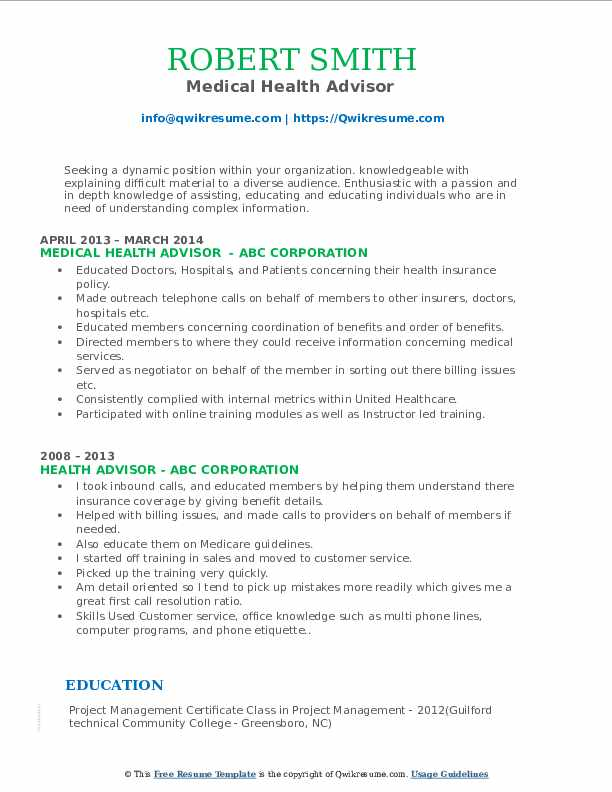 Medical Health Advisor  Resume Template