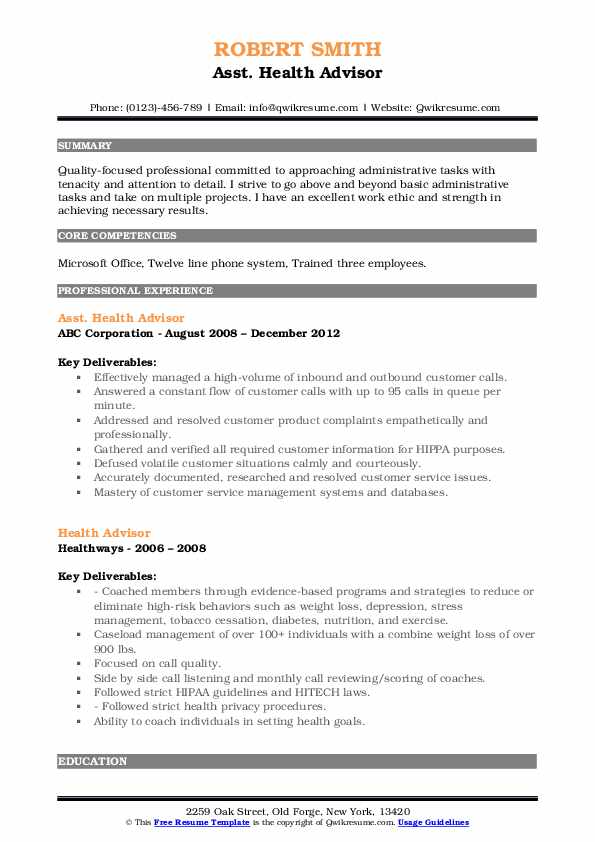 Asst. Health Advisor Resume Example