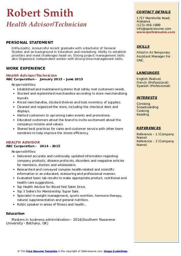 Health Advisor/Technician Resume Example