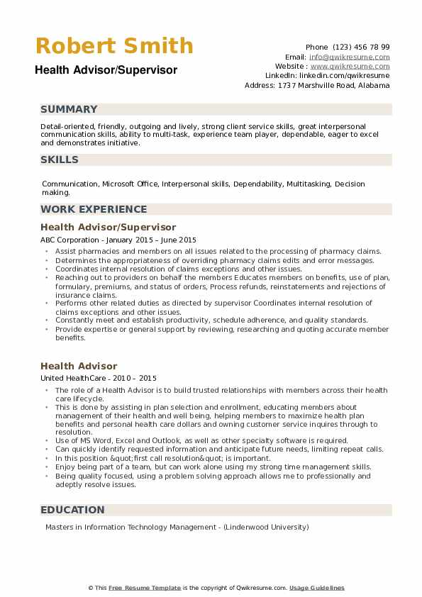 Health Advisor/Supervisor Resume Model