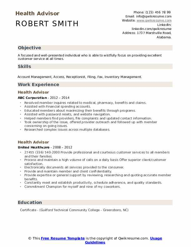 Health Advisor Resume example