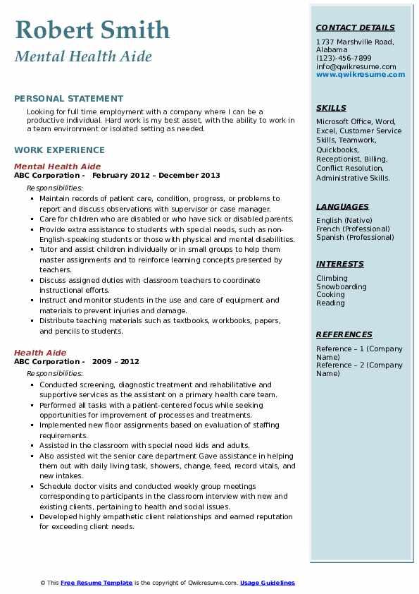 Psychiatric Technician II Resume Sample