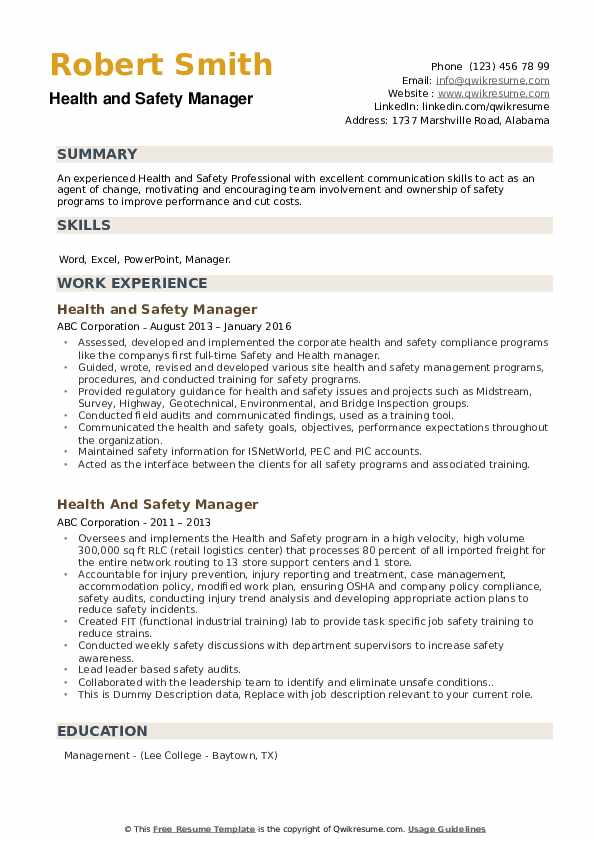 Health And Safety Manager Resume example