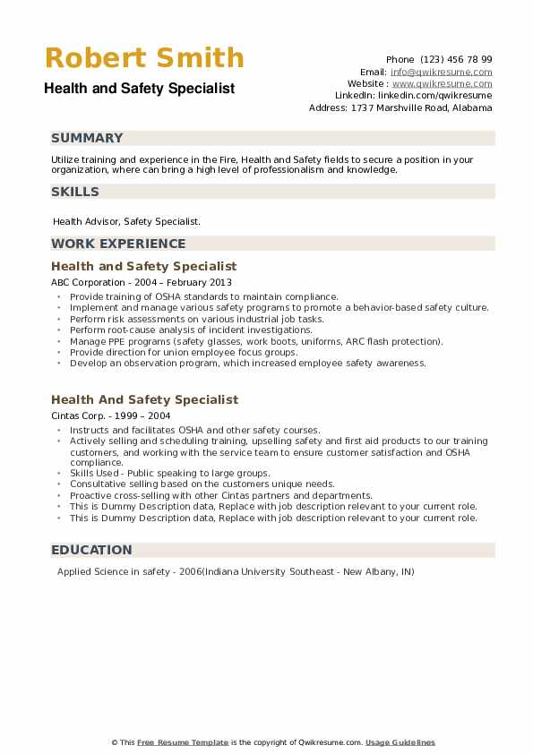 Health And Safety Specialist Resume example
