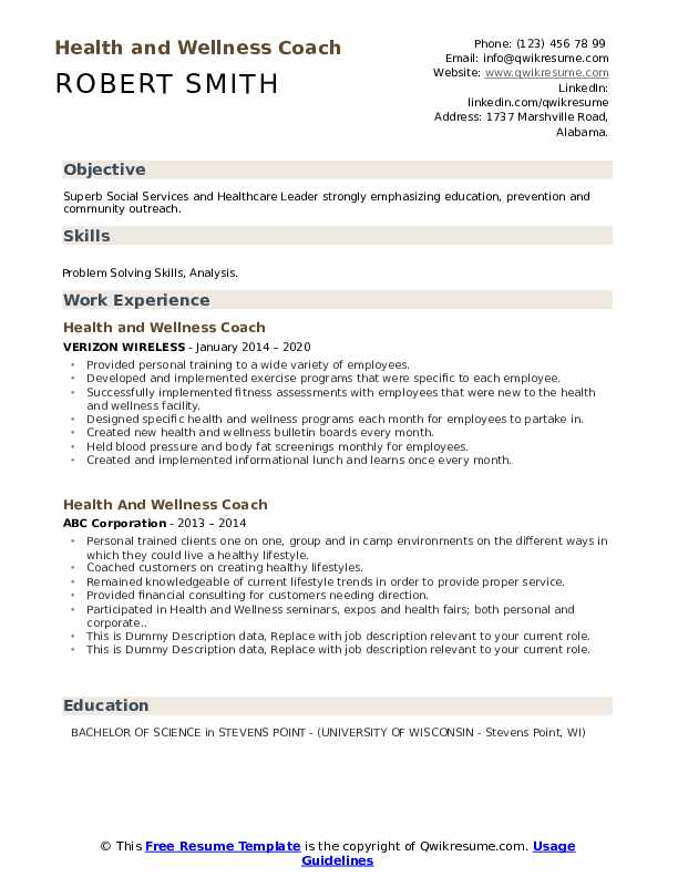 Health And Wellness Coach Resume example