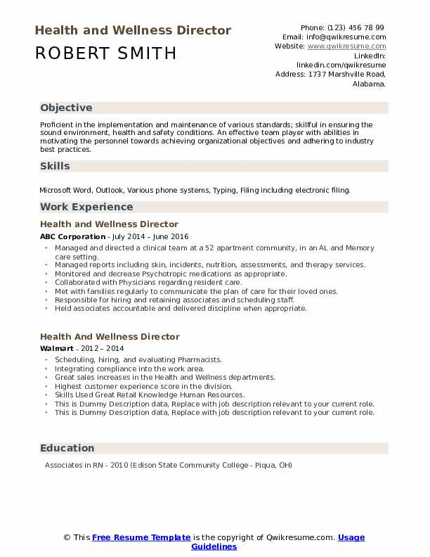 Health And Wellness Director Resume example