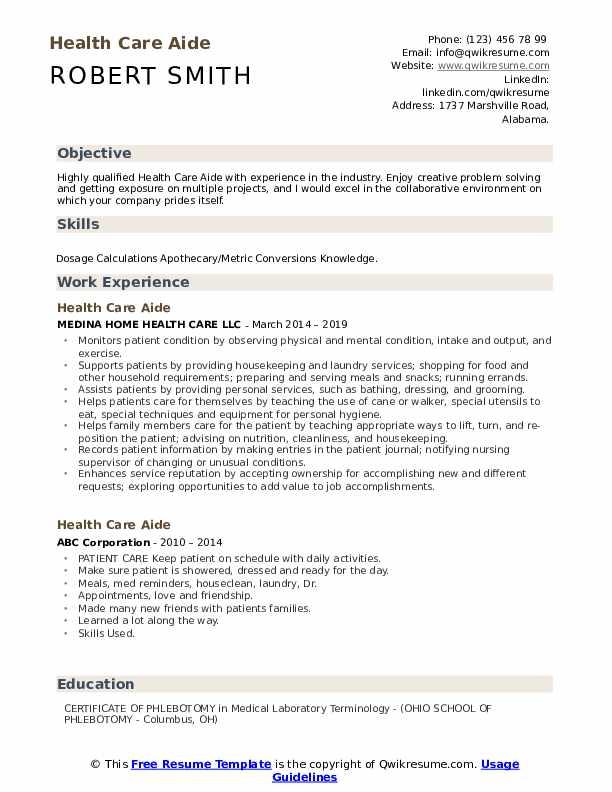 Health Care Aide Resume Model