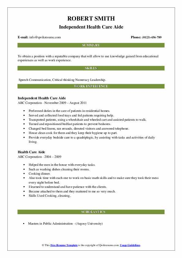 Independent Health Care Aide Resume Template