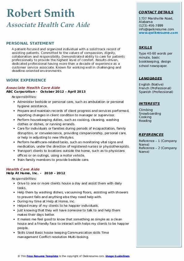 Associate Health Care Aide Resume Example