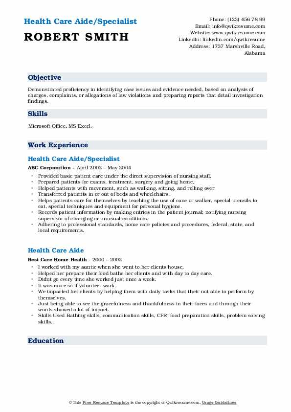 Health Care Aide Resume Samples Qwikresume
