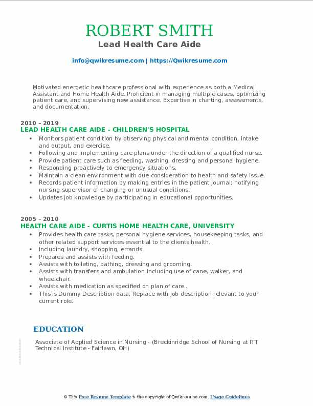 Lead Health Care Aide Resume Example