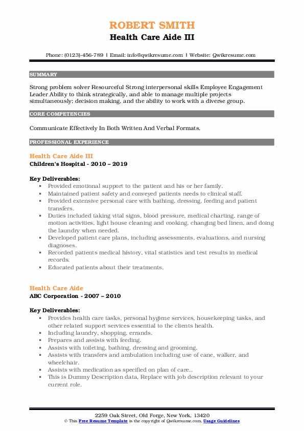 Health Care Aide III Resume Format
