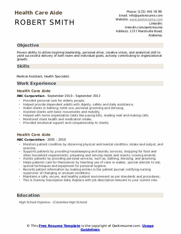 Health Care Aide Resume example