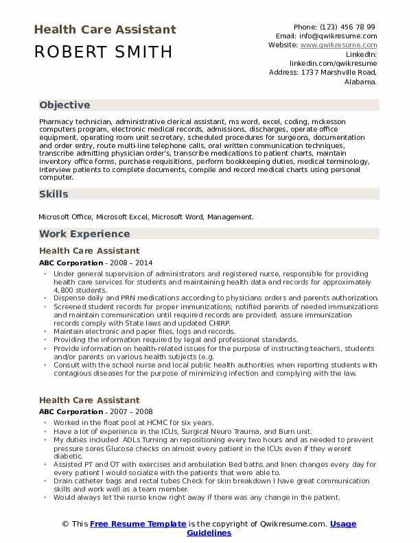 health care assistant resume samples