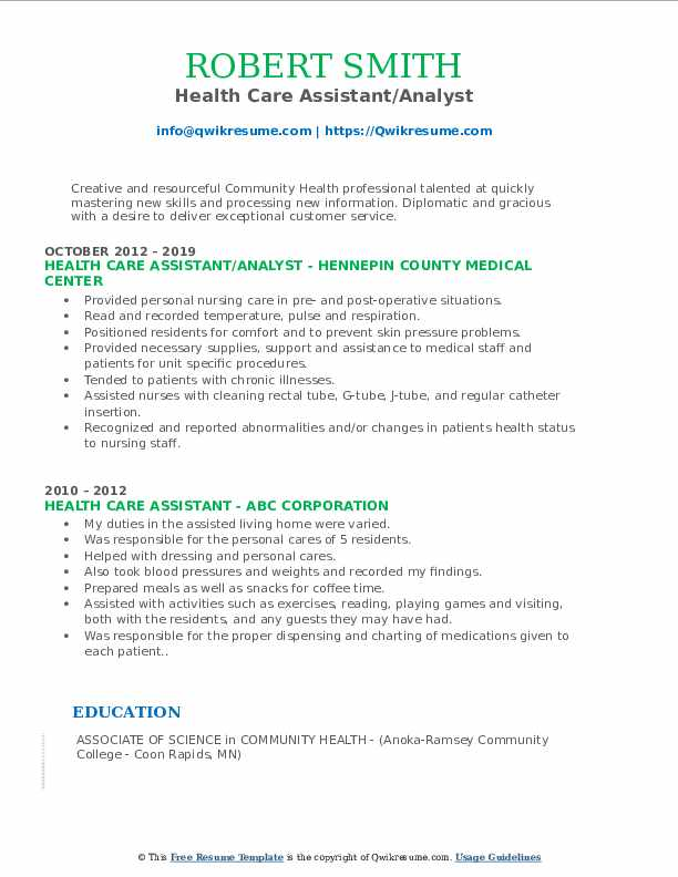 health care assistant resume samples  qwikresume