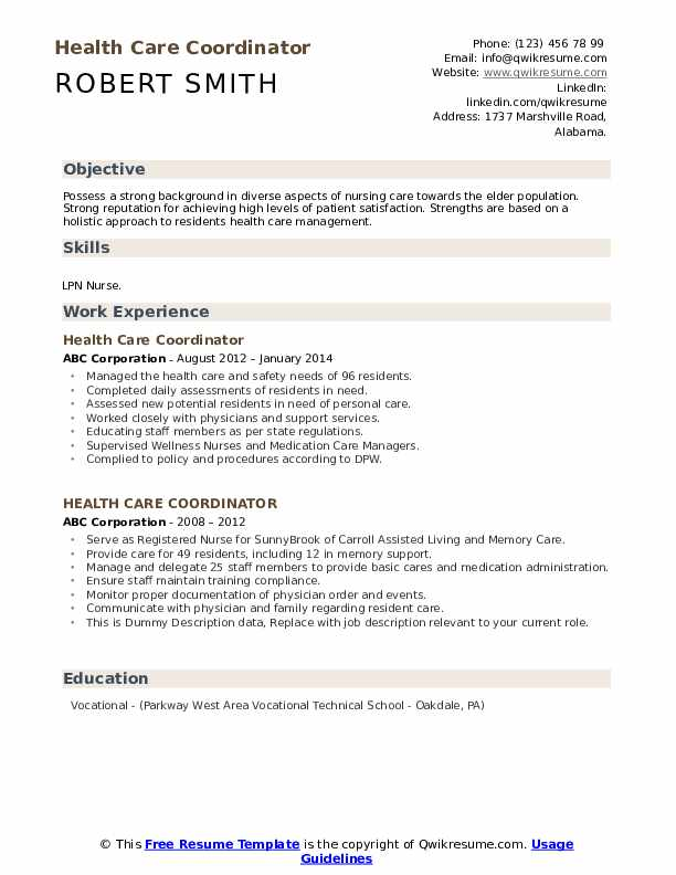 Health Care Coordinator Resume example