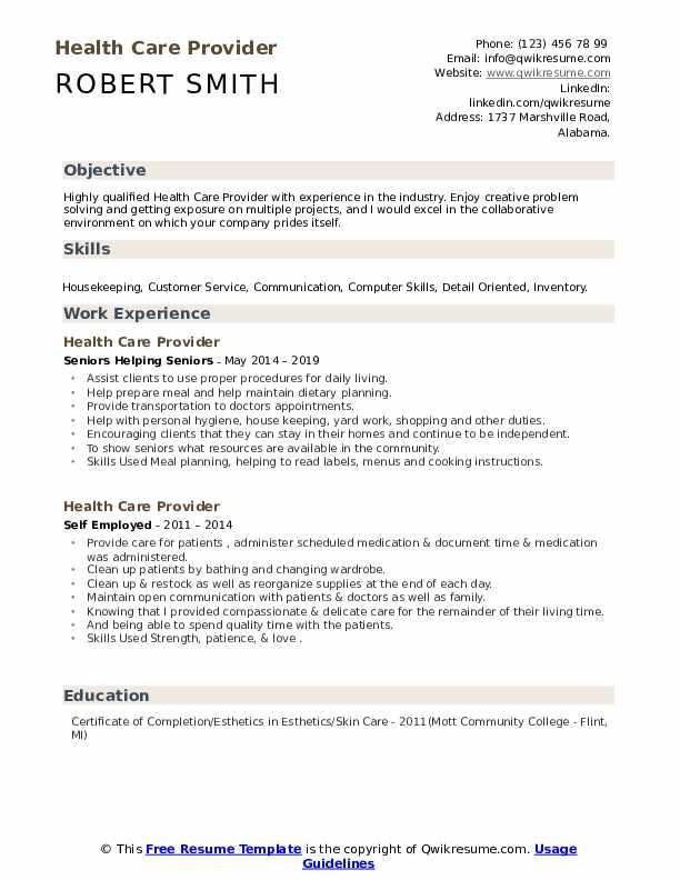 Health Care Provider Resume example