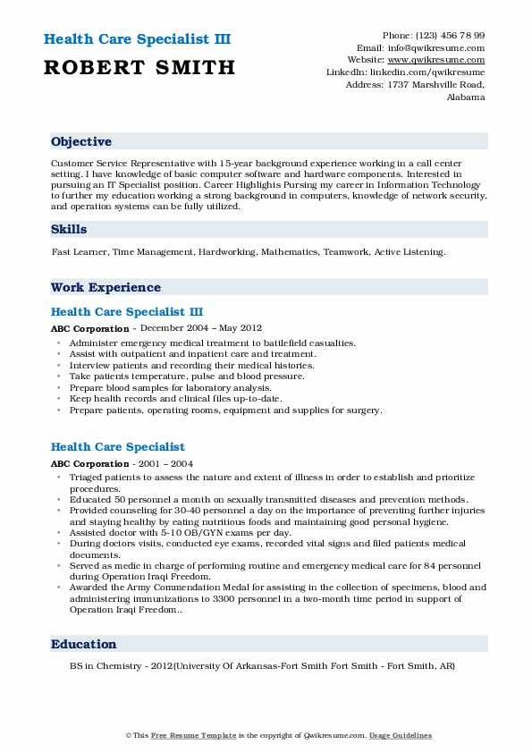 Health Care Specialist III Resume Sample