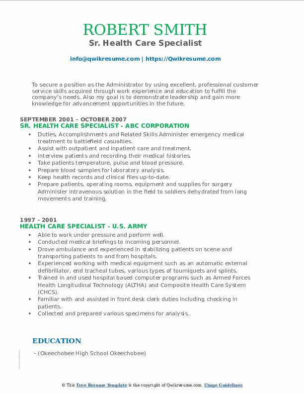 Sr. Health Care Specialist Resume Template