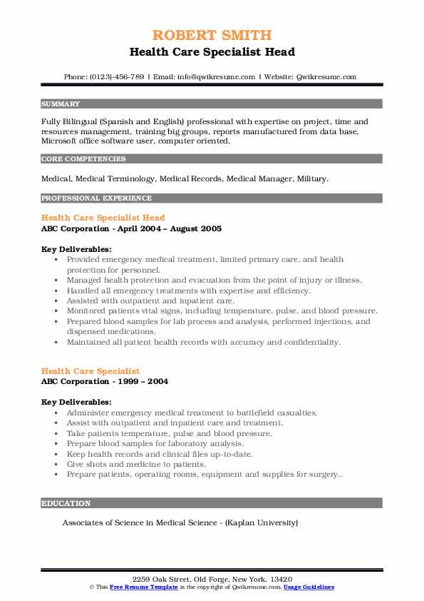 Health Care Specialist Head Resume Sample