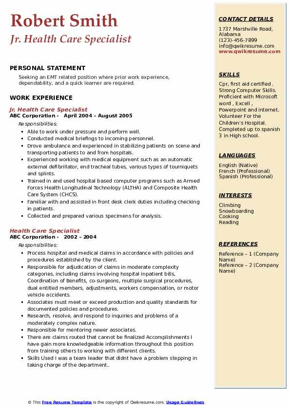 Jr. Health Care Specialist Resume Format