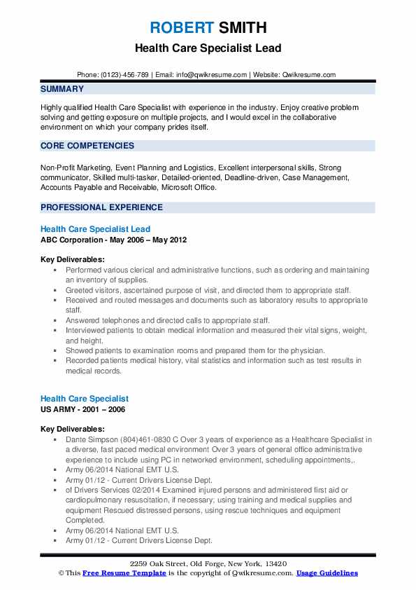 Health Care Specialist Lead Resume Format