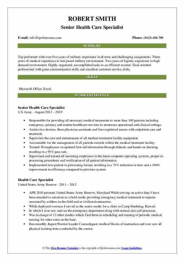 Senior Health Care Specialist Resume Example