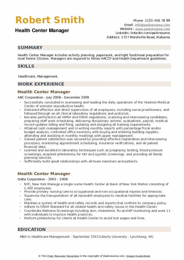 Health Center Manager Resume example