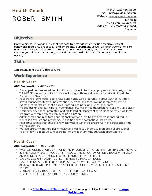 health coach resume samples
