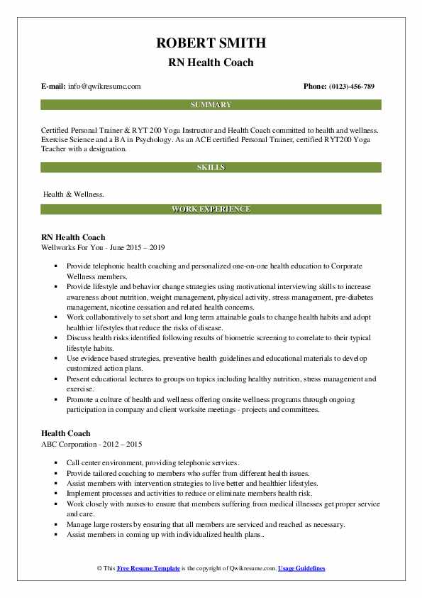 RN Health Coach Resume Example