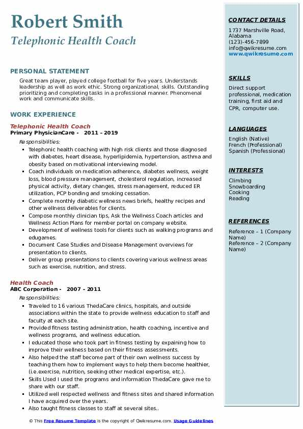 Telephonic Health Coach Resume Format