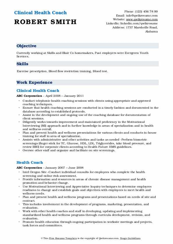 Clinical Health Coach Resume Example