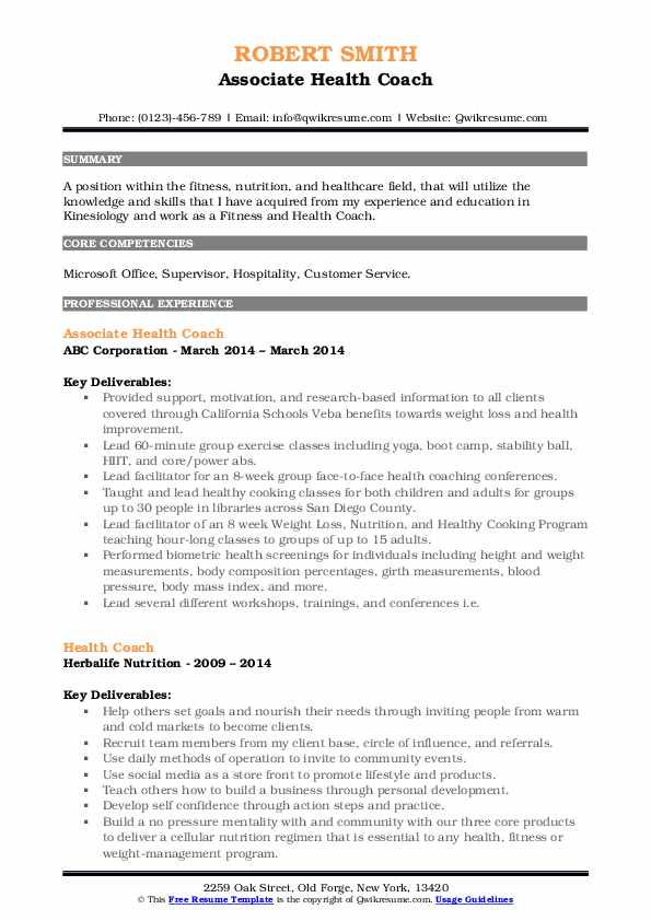 Associate Health Coach Resume Sample