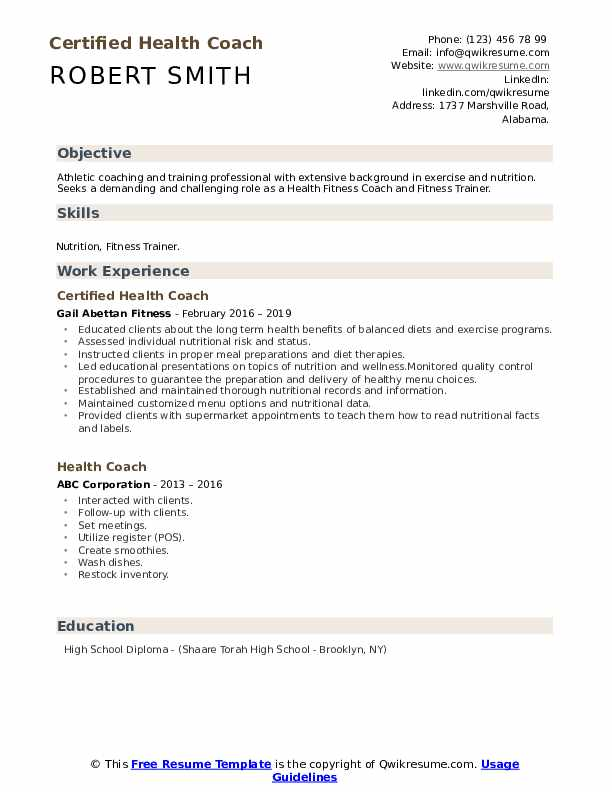Certified Health Coach Resume Sample