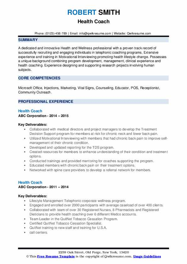 Health Coach Resume example