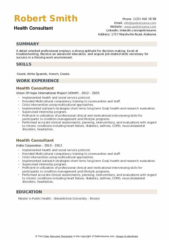 Health Consultant Resume example