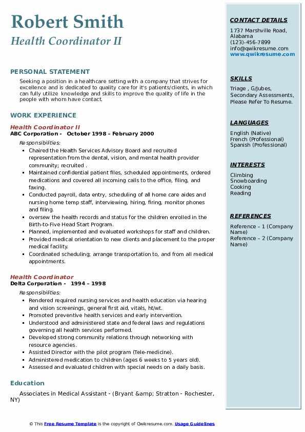 health coordinator resume samples  qwikresume