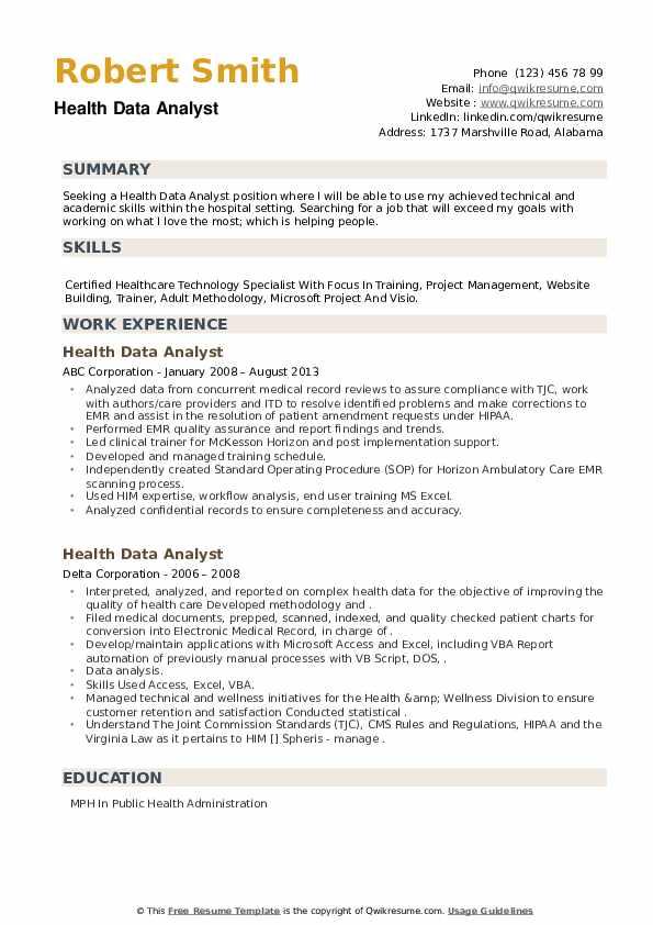 Health Data Analyst Resume example
