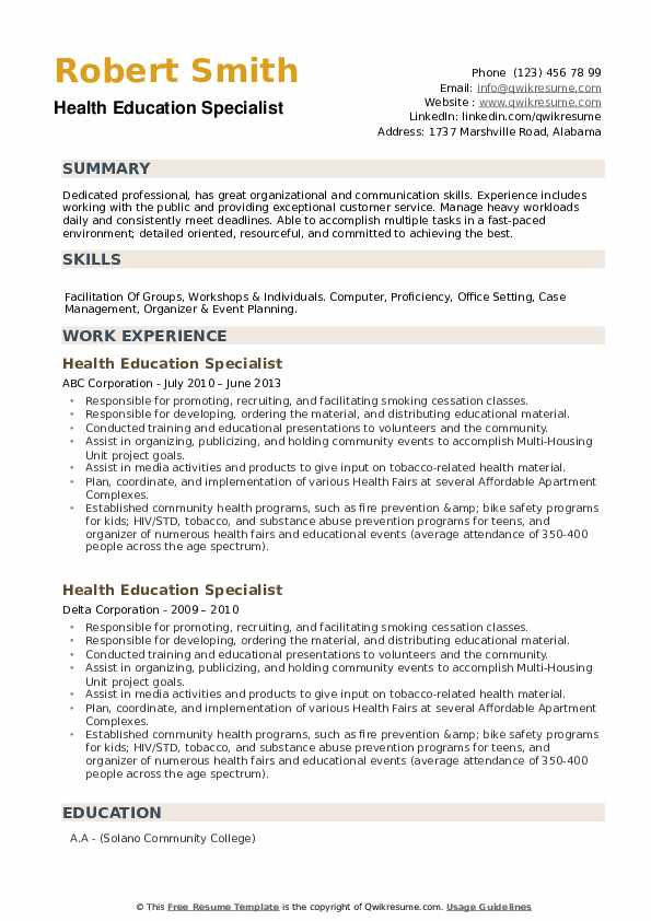 Health Education Specialist Resume example