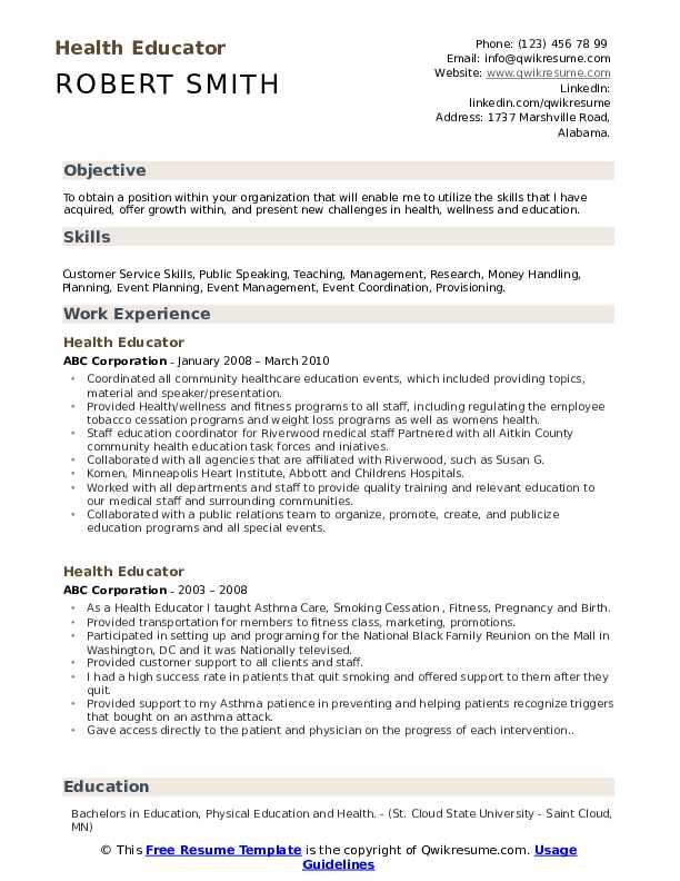 health educator resume samples