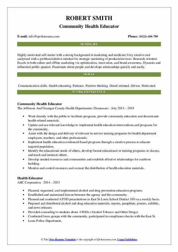 Community Health Educator Resume Template