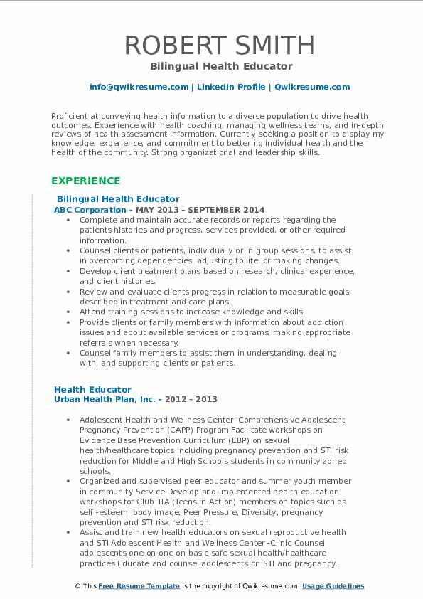 Bilingual Health Educator Resume Sample