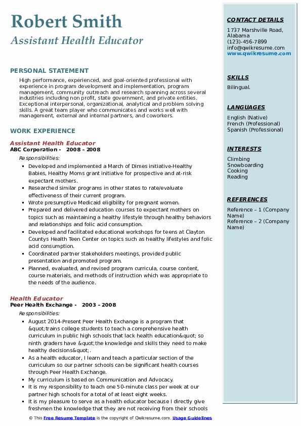 Assistant Health Educator Resume Example