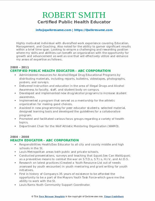 Certified Public Health Educator Resume Sample